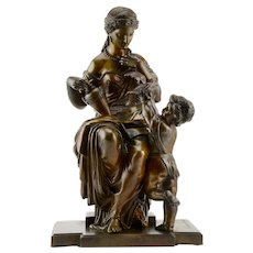 Basset Bronze Sculpture Woman and Boy