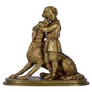 Boy Hugging Newfoundland Bronze Sculpture