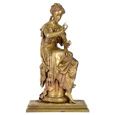 D Marie Seated Woman with Butterfly Bronze Sculpture