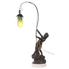 Bichberg Bronze Fisher Boy Figural Lamp