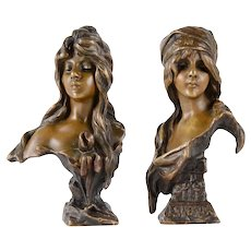 Villanis Pair of Bronze Busts Esmerelda & Iris