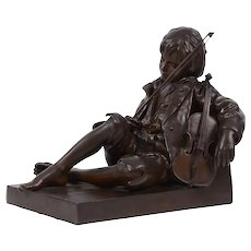 Leon Tharel Idle Fiddle Bronze Sculpture