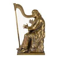 Karl Hardstock Harpist Bronze Sculpture