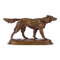 Jules Moigniez Golden Retriever Bronze Sculpture