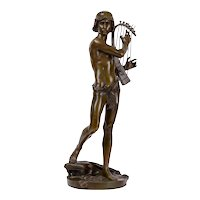 John-Baptiste Germain Harpist Bronze Sculpture