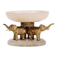 Onyx & Bronze Elephant Ring or Change Tray