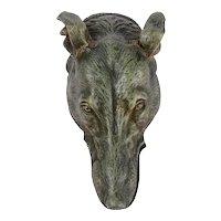 Art Deco Bronze Greyhound Head Desk Clip