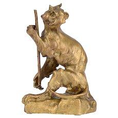 Cartier Gilt Bronze Monkey Sculpture