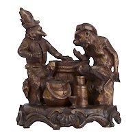 Rare Anthropomorphic Bronze of Animals Playing Poker