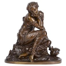 L Marchand Maiden at Lakeside Bronze Sculpture