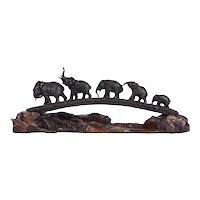 Bridge of Elephants Bronze Sculpture