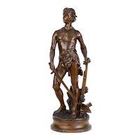 Art Nouveau Adrien Etienne Gaudez Farmer Warrior Bronze Sculpture