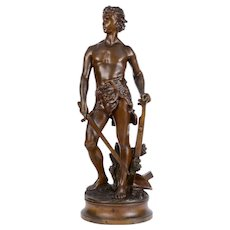 Art Nouveau Adrien Etienne Gaudez Farmer Warrior Bronze Sculpture