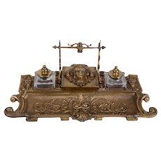French Bronze Inkwell with Pen Rack