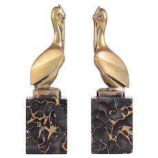 GH Laurent Bronze Pelican Bookends