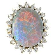 18K Gold 11.07 Carat Black Opal Ring with Diamonds