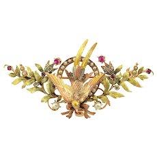 French Bird Design Tri Color Gold Brooch