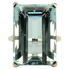 28.31 Carat Emerald Cut Aquamarine Ring