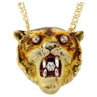 Rare Victorian Diamond Tiger Head Pendant