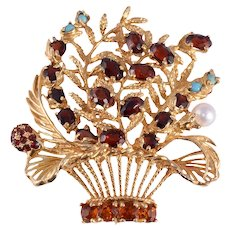Lucien Piccard Flower Basket Brooch or Pendant