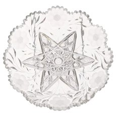 American Brilliant Cut Glass Low Bowl