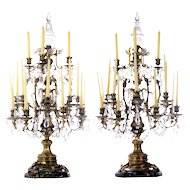 Pair of Monumental Cast Bronze Candelabras with Baccarat Crystals