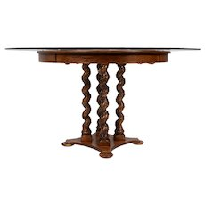 Carved Oak Glass Top Pedestal Table