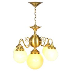 Satin Brass Chandelier with Vaseline Glass Shades
