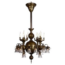 Electric and Gas Spun Brass Chandelier