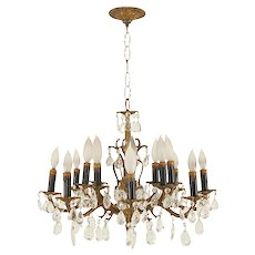 Bronze and Crystal 16 Light Chandelier