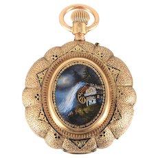 Swiss 14 Karat Gold and Enamel Hunter Case Pocket Watch
