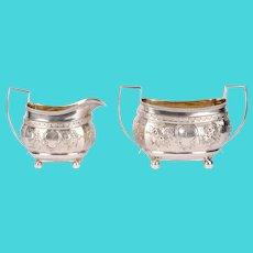 Thomas Rubins Gadrooned Sterling Silver Sugar & Creamer Set
