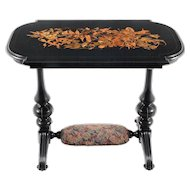 American Victorian Ebonized Marquetry Table