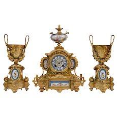 PH Mourly Gilt Bronze Garniture Clock Set