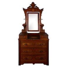 Walnut Dresser with Swivel Mirror