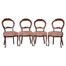 Set of Four Walnut Dining Chairs