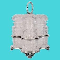 J Drew & Sons Cut Glass Jars Silver Plate Frame