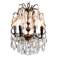 American Gilt Bronze Five Light Crystal Chandelier