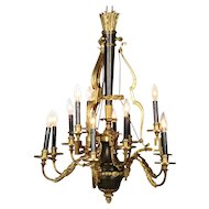 Gilt Bronze Twelve Light Chandelier