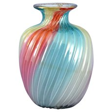 Rainbow Case Glass Vase Signed Steven & Williams