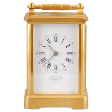 French Carriage Clock in Gilt Brass Corniche Case Signed Charles Oudin