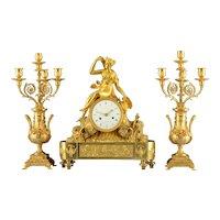 French Gilt Three Piece Garniture Clock Signed H I Chatelain