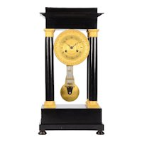 Ebonized Wood & Gilt Empire Mantel Clock