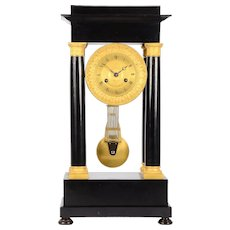 Ebonized Wood & Gilt Empire Mantel Clock