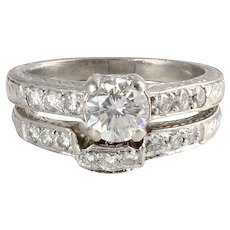 Tacori 1.40 CTW Diamond Platinum Engagement Set Size 6.5