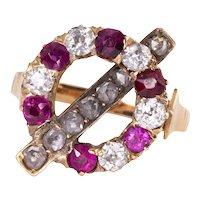 Art Deco Ruby & Diamond 18K Ring