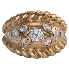 Flush Set Diamond Yellow Gold Ring