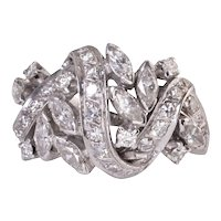 French Diamond Cluster White Gold Ring