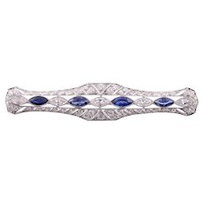 Platinum 3.25 CTW Diamond and Sapphire Art Nouveau Bar Pin