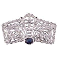 Diamond Sapphire 18KW Brooch